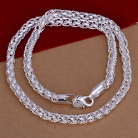 Wholesale New listing trendy fashion high quality silver classic Retro Beautiful Twist Circle necklace jewelry holiday gifts N083