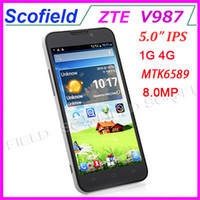ZTE 5.0 Android 4.1 ZTE V987 5.0 inch IPS 720P MTK6589 Android Cell Phone Quad Core Smartphone IPS Screen 1GB RAM 4GB ROM 8.0MP Camera 3G GPS Russian