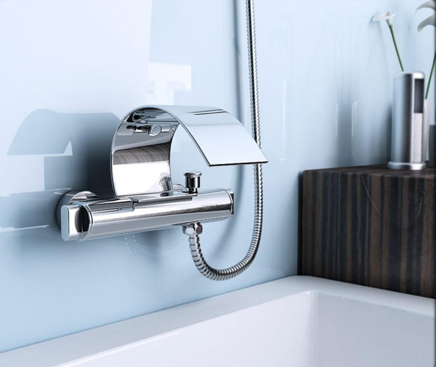 Contemporary Chrome Wall Mount Waterfall Tub Faucet with Hand ...