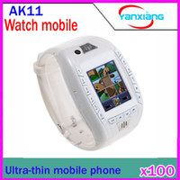 Wholesale DHL Watch Mobile Phone AK11 Tri band with inch screen MP3 singal sim card buletooth RW PH