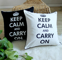 Wholesale Black White Inspiration Words Cotton Linen Decorative Cushions Pillow Cover Case