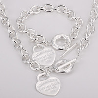925 silver jewelry - New Hot Sterling Silver Love Peach Heart Links OT Clasp Necklace Bracelet Jewelry Set quot