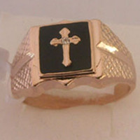 american gps - New Cross Onyx White Topaz K GP Rose Gold Men s Ring Size Free shippin Provide tracking number