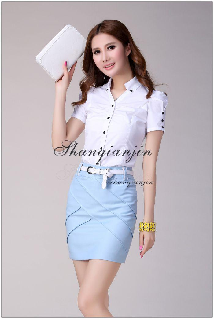 Wholesale - Graceful Women Suits Short Sleeves Ladies Skirt Suits Grey