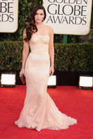 Reference Images Strapless Chiffon Megan Fox 2013 Golden Globes Awards nude lace appliques pleated prom out evening dresses GF483