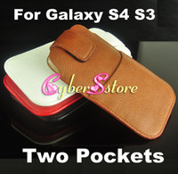 Leather belt bag holster - 100pcs Slim Holster Belt Clips Leather Pouch Bag Case Cover With Two Pockets for Samsung Galaxy S4 i9500 S3 i9300