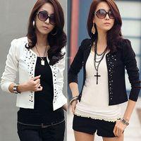 Jackets Women cotton blend Fashion Women Ladies Rivets Studded Short Casual Suit Coat Jacket Blazer Tops