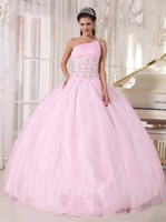 Wholesale Unique design one shoulder pink quinceanera dresses beads ruffle lace up prom gown lace up one shoulder organza pink prom gowns beads ruffle