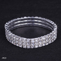 Wholesale 3 row ZAU3 Shiny Clear Rhinestone Stretch Elastic Bangle Bracelet Hand Band Wristband Party Wedding Engagement Bridal Jewelry Fashion Gift