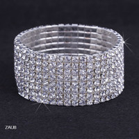 Wholesale 8 row Shiny ZAU8 Clear Rhinestone Stretch Elastic Bangle Bracelet Hand Band Wristband Party Wedding Engagement Bridal Jewelry Fashion Gift