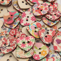 Buckle wooden hearts - 400pcs Mixed Heart Shaped Hole Wooden Sewing Buttons Scrapbooking x22mm