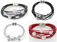 Wholesale Multi Layers Leather Stunning CZECH CRYSTAL Bead Shamballa Bracelet with Magnetic Clasp Bangle Wristband