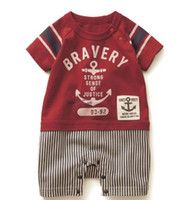 Wholesale Rompers for Baby Boys Casual Red Suits Short Sleeves Stylish Design With Stripe Pants Soft Cotton Fabric High Quality Hot On Sale E105