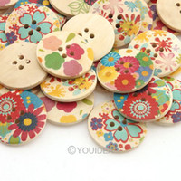 Wholesale 120pcs New Arrival Cute Holes wooden Buttons Round Colorful Sewing Buttons Fit Clothes