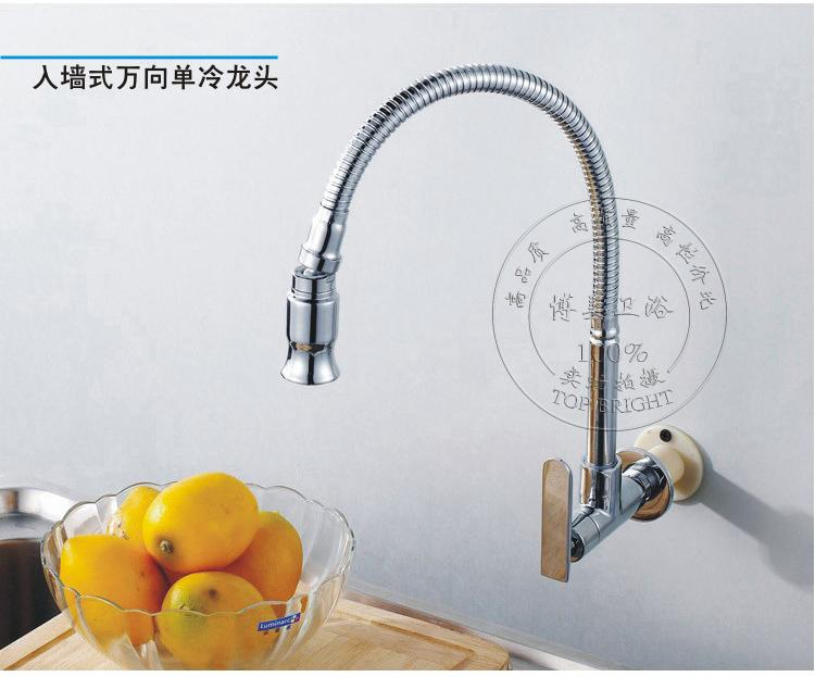 direct salepull down kitchen wall mounted brass chrome faucets single cold sink tap: kitchen faucets wall mount