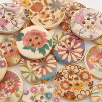Wholesale FREE SHIP x Mixed Flower Patterns Wooden Sewing Buttons Scrapbooking