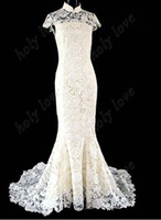 Wholesale Best Design white Exquisite Luxurious high collar lace cheongsam Back hollow out Organza Custom Made wedding dresses