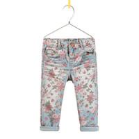 Wholesale Child Clothing Popular Fashion Printed Jeans Denim Trouser Kids Jeans Children Casual Pants Blue Jeans Long Trousers Girls Cute Flower Pants