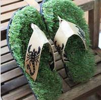 Beach beach walks - Thailand s original Pull style beach sandals walk grass flip flops cloth slippers artificial grass slippers t5401