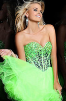 Wholesale 2013 New Lime Green Coral Blue Sweet heart A Line Ruffled Beaded Sexy Tulle Sequins Short Peagant Prom Dress Homecoming Dresses