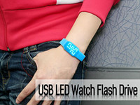 usb wristband - Genuine capacity G G G G G usb drive memory usb flash drive LED watch wristband Drop shipping