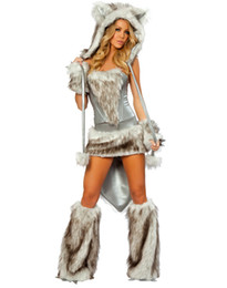 Cosplay Wolf Animal Sexy Costumes For Women Wolf Costume Gray Plus Size Furry Uniforms Outfits H39102G