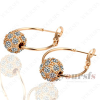 Wholesale K Rose Gold Plated Fashion Lucky Ball Earring Use Austria Clear Crystal vintage earrings E039R1
