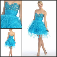 Cheap 2013 Latest Sweetheart Neckline Sparkly Beaded Corset Ruffled Ice Blue Organza Girls Homecoming Dresses Short Prom Dress