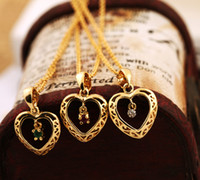 Wholesale 36203 Hot sale Jewelry Alloy Gold Short Chain Necklace Heart Shape Pendant with A Zircon Handmade mosaic