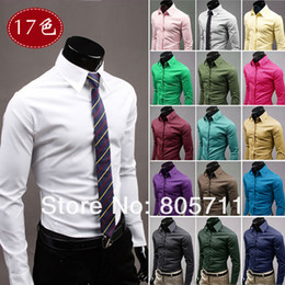 Wholesale 2013 Hot Sale Solid Color Full Sleeve Men s Casual Shirts Korean Slim Fit Plus Sizes M XXXL