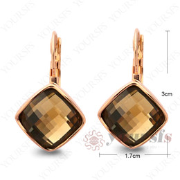 Yoursfs Hot Sale Square Earrings Jewelry Used Austria Crystal Gift 18 K Rose Gold Plated Light Brown Charm Earring For Beatiful Gril Sunmer