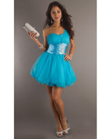 Reference Images One-Shoulder Tulle 2013 Cocktail Dresses Cheap Sexy Short Sleeves One Shoulder Beadings Summer Mini Short Graduation Dresses BO1122