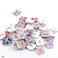 Wholesale Colorful Flower Printed Wooden Buttons beads Wood Square Fit Clothes Accessories Sewing or craft Scrapbooking ZCR2