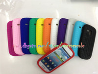 Plastic For Samsung  Colorful Tyre Tread soft silicone silicon Rubber Gel skin back cover case cases for Samsung Galaxy SIII S III 3 S3 mini i8190 10pcs 20pcs
