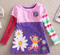 Wholesale Nova in the night garden girl long sleeve A line cotton t shirt with printed daisy amp applique amp embroidery cartoon shirts sweatshirt