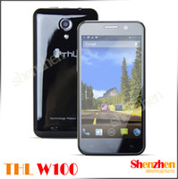 Wholesale THL W100 W100s MTK6582 Android Phone MTK6589 Quad Core GHz Screen MP Camera With Flip case black white cell phone