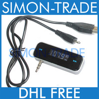 Wholesale LCD FM Transmitter for iPhone S mm Jack for iPod iPad Smart Phone HTC Retail Box