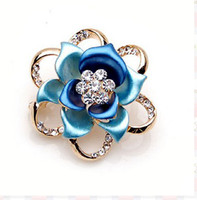 Wholesale 12pcs fashion crystal flower brooches wedding bridal party Jewelry Brooch pin color u pick Jx015