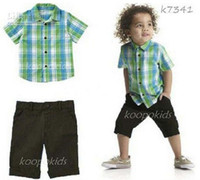 Christmas Boy 0-5 Year Old boys clothing Green plaid square-cut collar pure cotton Short sleeve T Shirt + shorts 2pcs kids suit 2-6year baby set xv