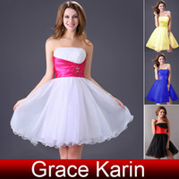 Wholesale Short Strapless Fromal Party Gown Girls Womens Ball Prom Cocktail Dress black white blue yellow CL4097