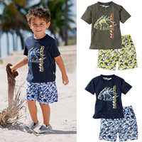 Wholesale 2013 New Hot Children s suit Summer Baby Boy s Pc Casual Suit Clothing Short Sleeve Dinosaur Pattern T Shirt Tops Beach Shorts Pants