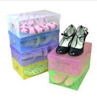 Wholesale 300pieces DHL cover CLEAR plastic cover CLEAR plastic shoes box FOLDABLE storage box for SHOES lady s size x15x10cm