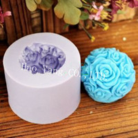 FDA ball candle molds - 3D Soft Silicon Resin DIY Rose Ball Soap Molds Moon cake Mould For food cookie Candle Jelly Cake coo