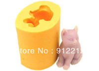 Wholesale R0596 Standing cat d Silicone mold Chocolate cake decoration Candle candy mold soap mould baking mold