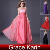 Wholesale Grace Karin New Stunning Beaded Long Evening Dresses Sexy V neck Prom Gown Party Dress CL4104