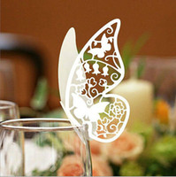 Wholesale Laser Cut Butterfly Place Card Escort Card Wine Glass Card Wedding Party Decoration