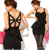Polyester Square Mini Chic womens Peplum Spaghetti Strap Padded Bra Cups Cocktail Ruffles Empire Waist Back Zip Sexy Club Mini Dress A0002