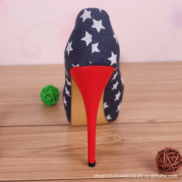 40 41 42 43 44 45 Big Size women\u0026#39;s USA FLAG shoes sexy red bottoms ...