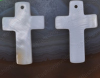 Wholesale White Mother Of Pearl Shell Cross Pendant beads x15MM K058
