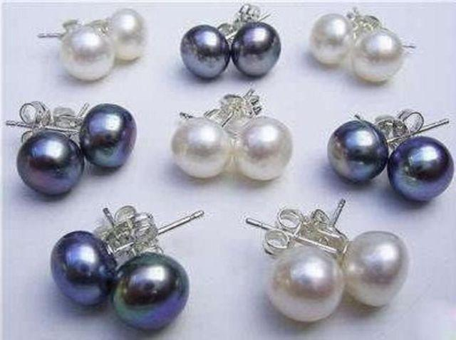16pcs / 8Pairs 8-9MM WhiteBlack Akoya Cultured Pearl 925 Silver Earring